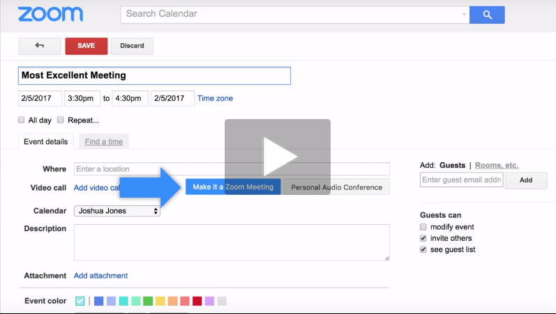Schedule A Meeting For Your Zoom Room With Google Integration