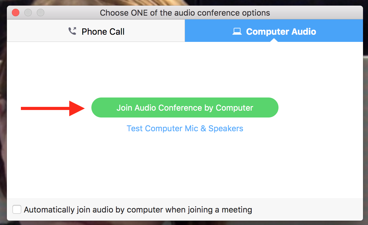 Screenshot of Zoom Join audio button