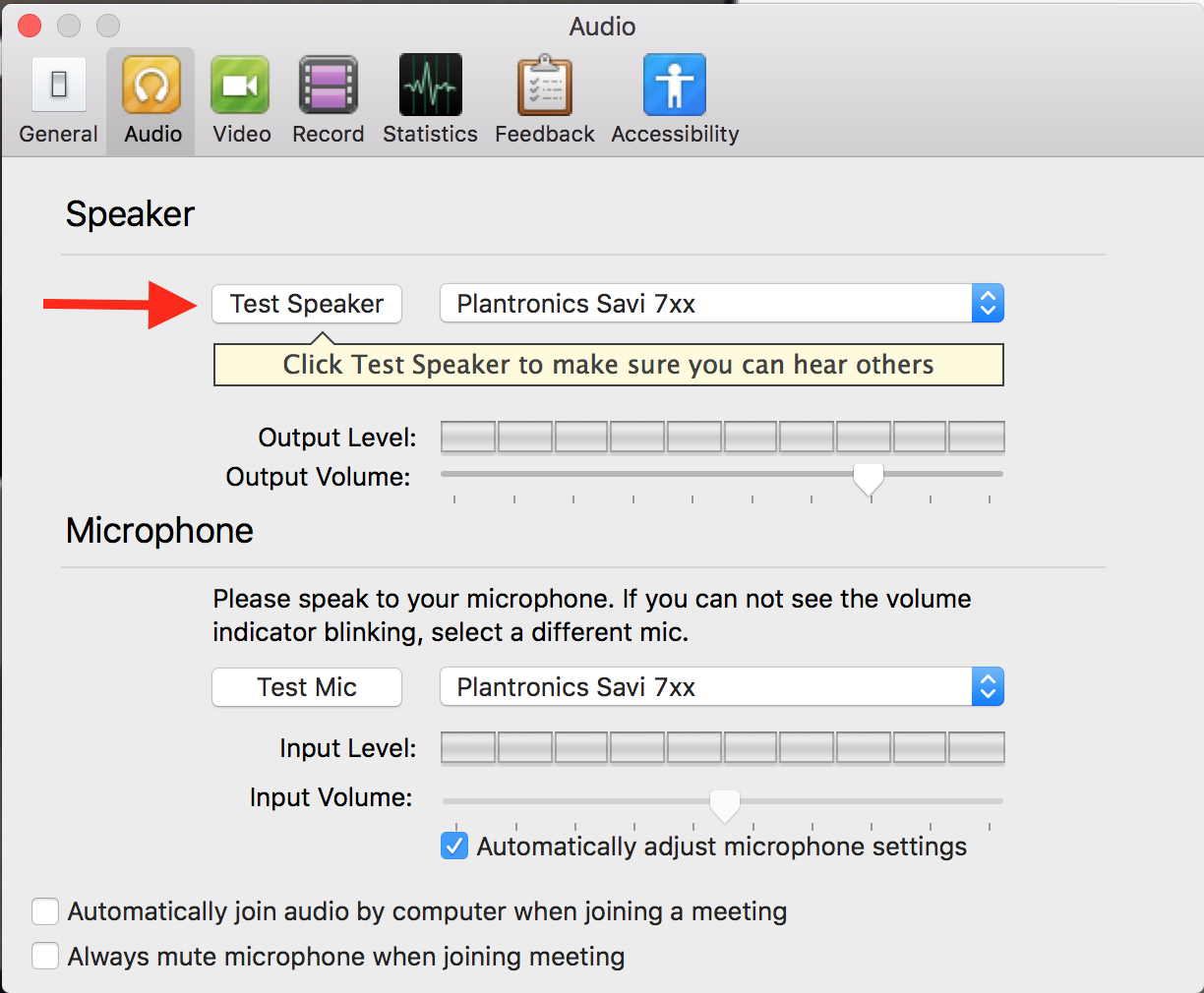 Screenshot of Zoom test speaker button