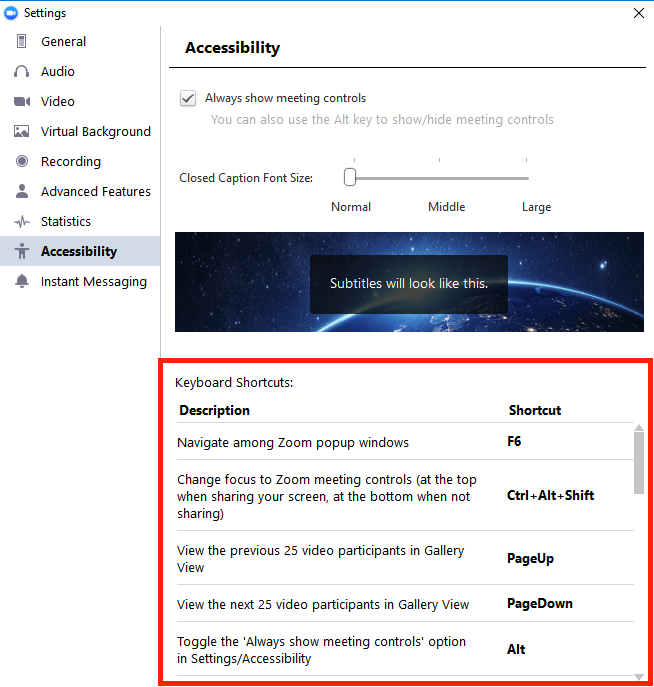 Windows Accessibility Settings