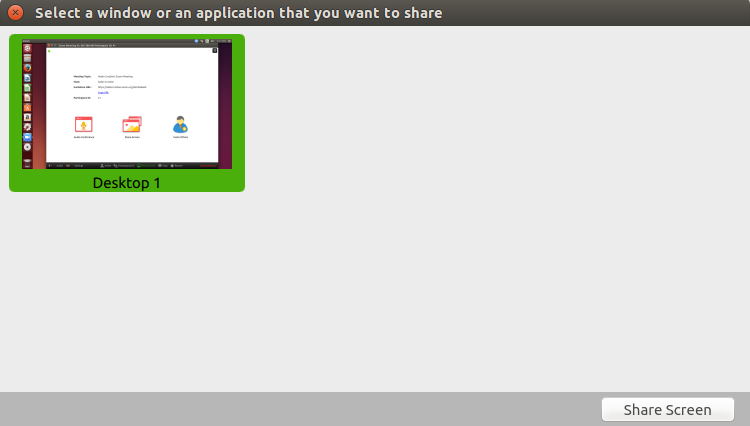 to start screen sharing select share screen button located in your meeting tool bar