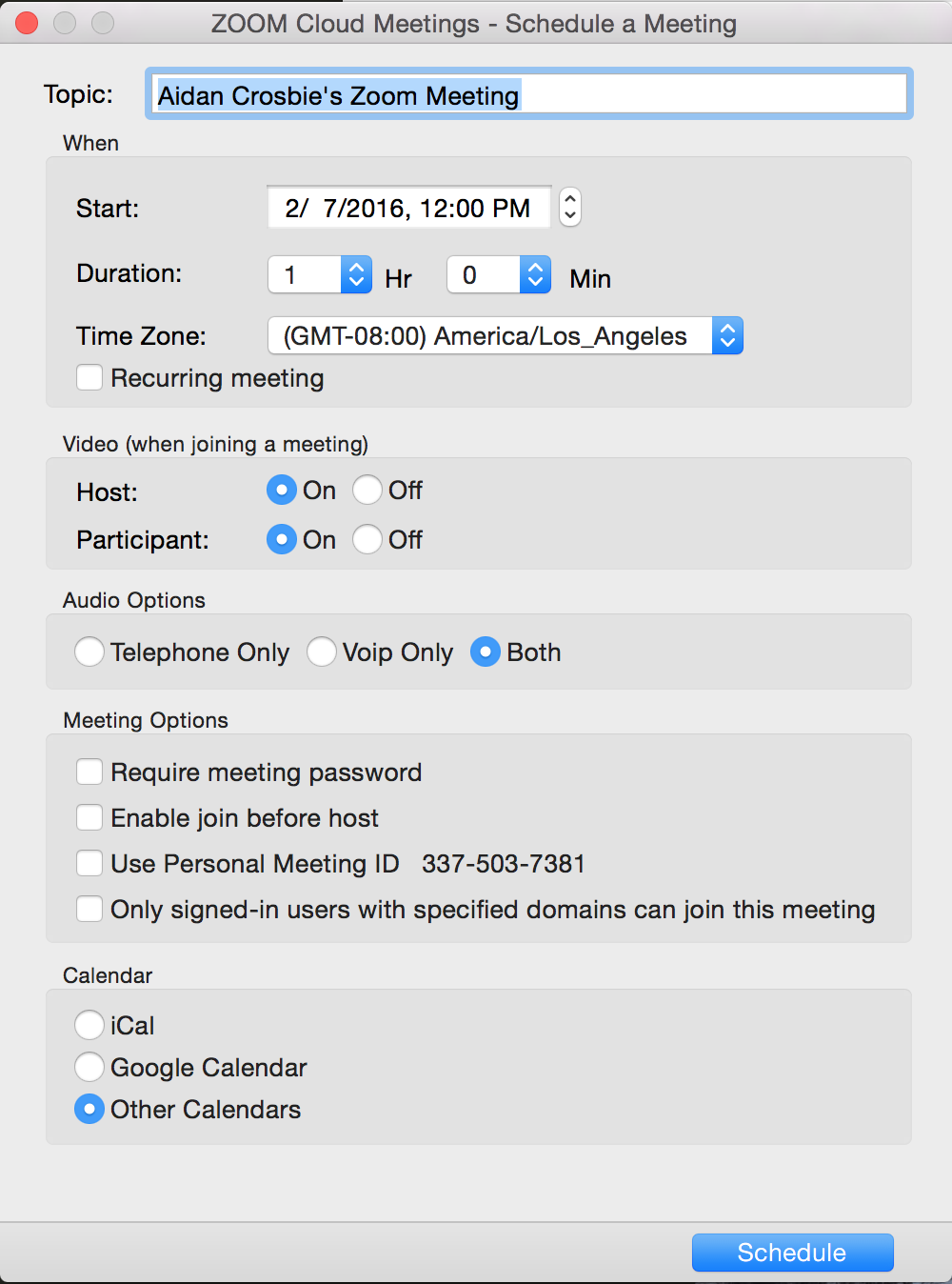 Once You Have Opened The Zoom Scheduler, You Can Select Various Settings  For Your Meeting Please Note That Meetings Can Be Started By The Host At  Any Time