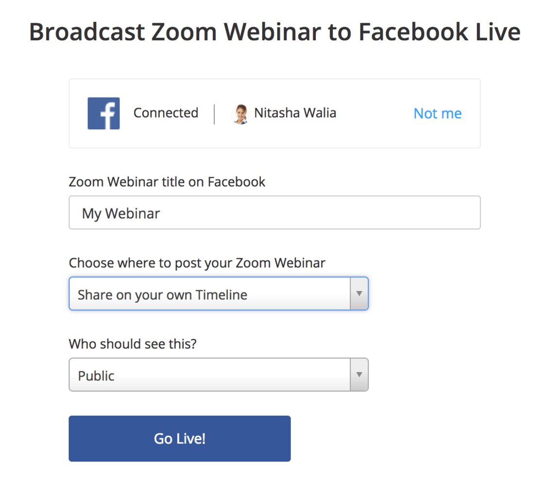 image of a facebook dialog modal allows the user to select where a video live-stream will appear