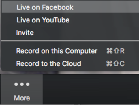 an image of the live-steam menu within Zoom's webinar product