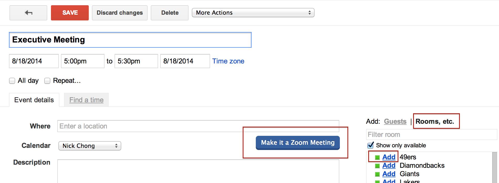 Schedule Meetings in Zoom Rooms (Google) – Zoom Help Center