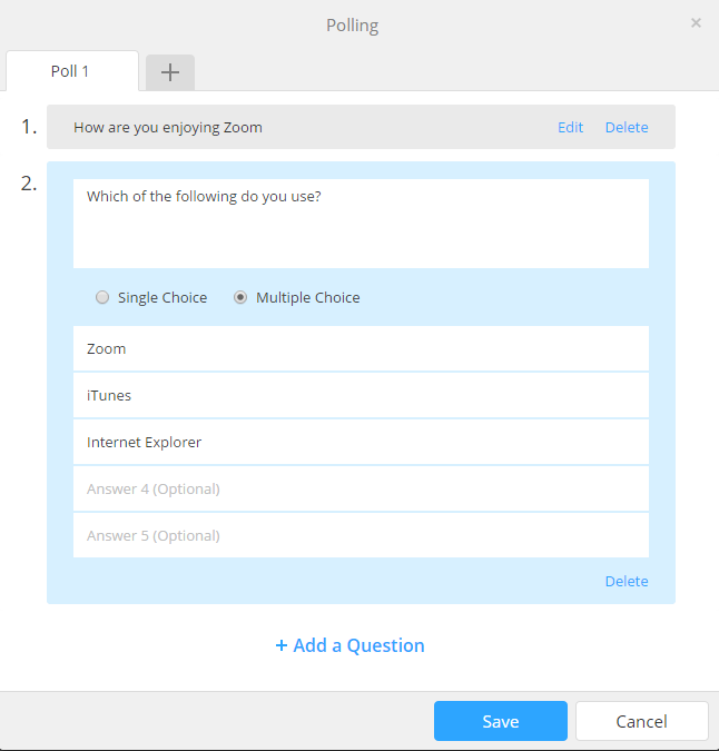 during the webinar all questions under a single poll will be asked at once you can create additional polls to ask questions at a different