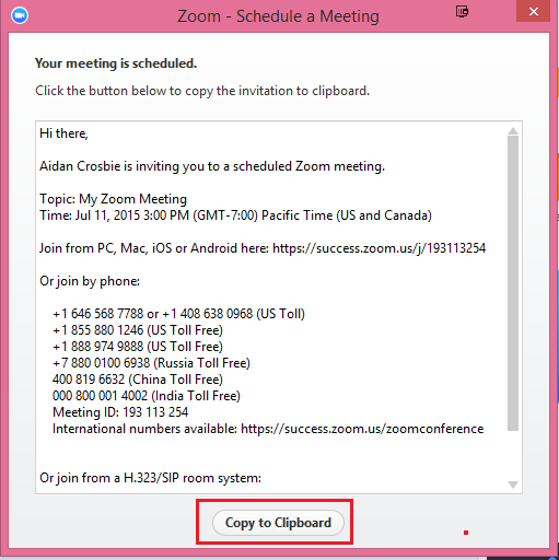 Where can I find the meeting invitation text? – Zoom Help Center