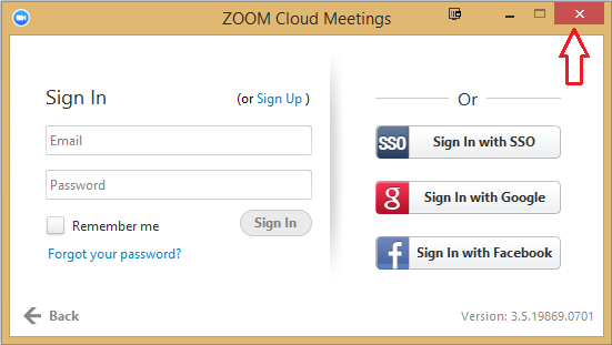 rightclick on the zoomus application in the task bar and select exit