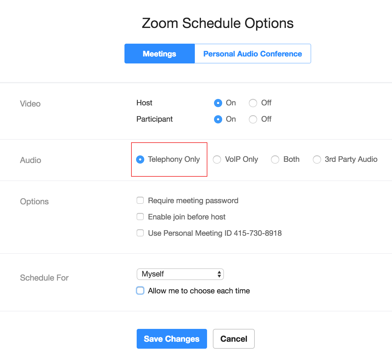 schedule a meeting on the web portal zoom client outlook plugin or google extension click on telephony only note it will remember this setting for any